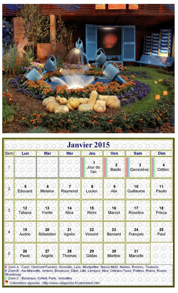 calendrier 2015 imprimer mensuel avec photographie au dessus. Black Bedroom Furniture Sets. Home Design Ideas