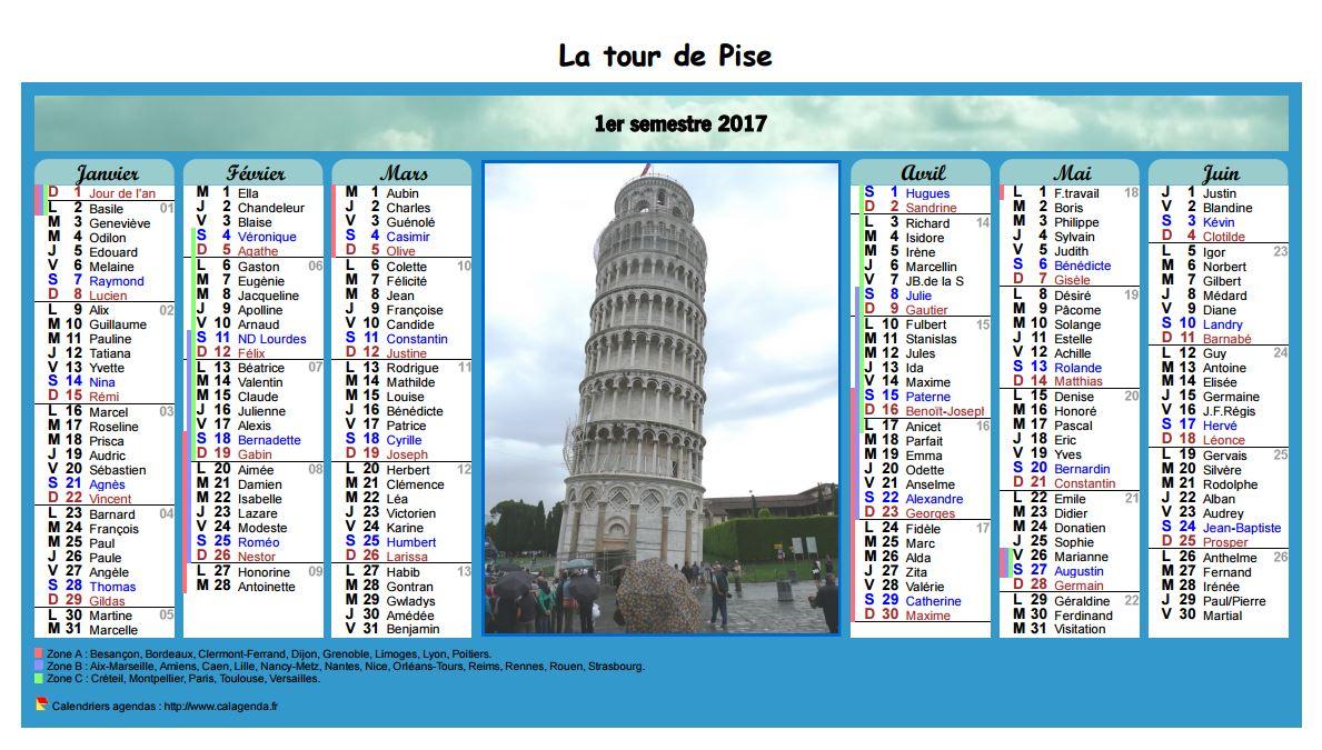 Calendrier 2017 semestriel en colonnes avec photo au centre