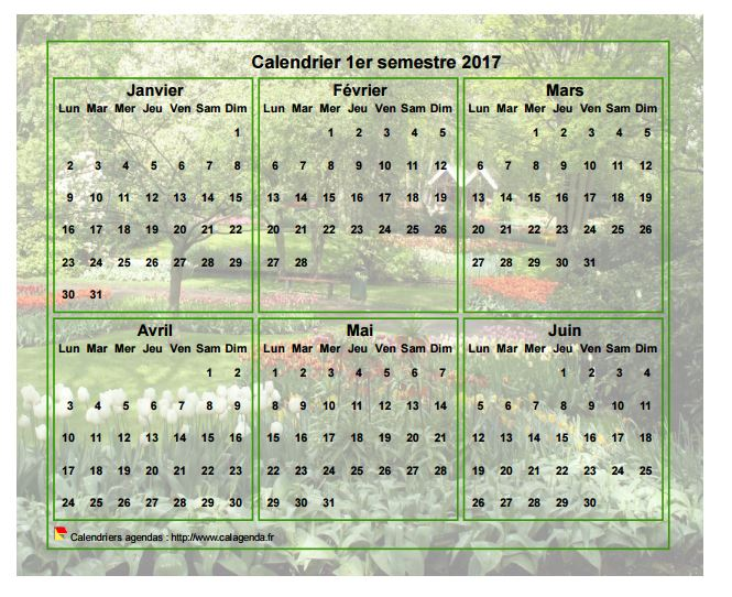 Calendrier 2017 à imprimer semestriel, format paysage, avec photo en fond de calendrier