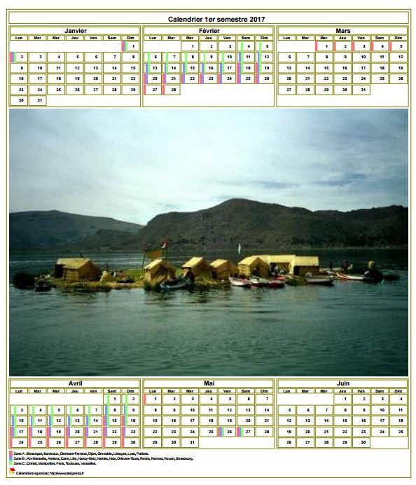 Modèle par défaut du calendrier agenda semestriel, avec photographie au centre