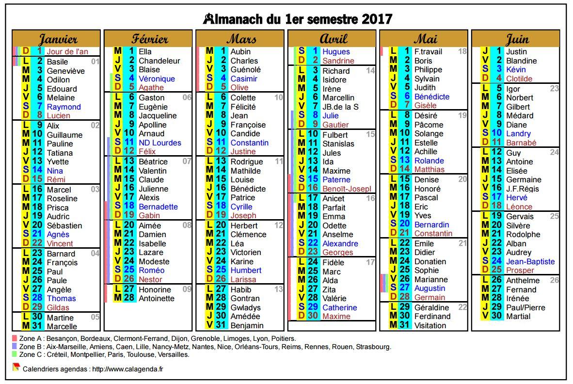 Calendrier 2017 semestriel six colonnes de format paysage