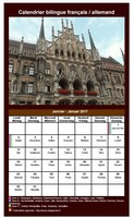 Calendrier mensuel 2017 allemand