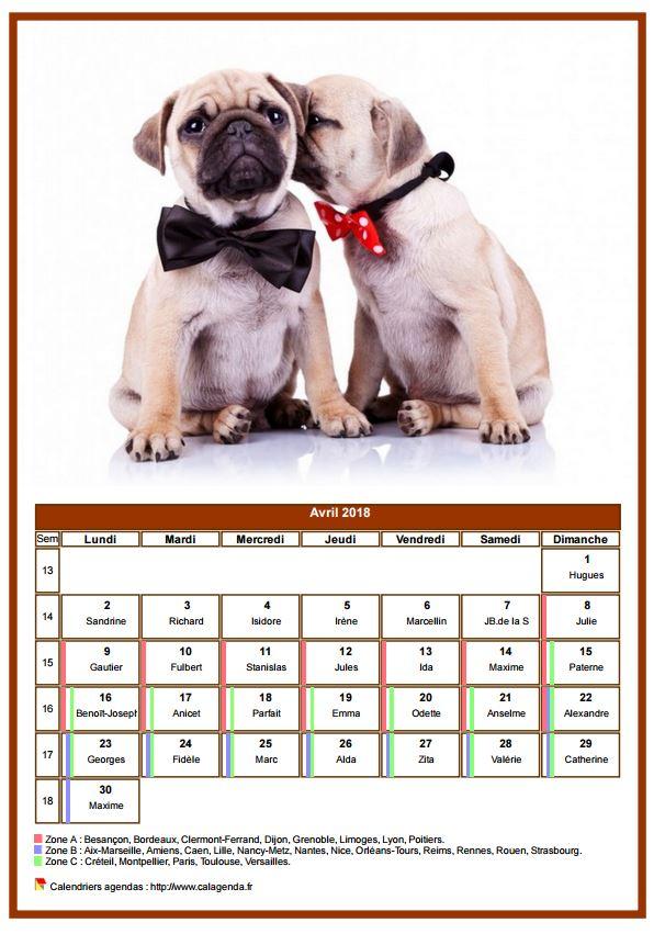 Calendrier avril 2018 chiens