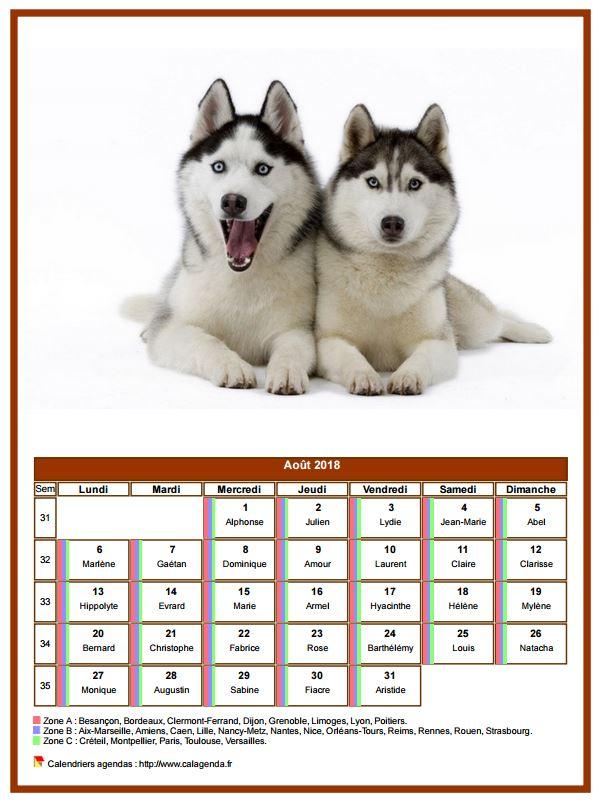 Calendrier août 2018 chiens
