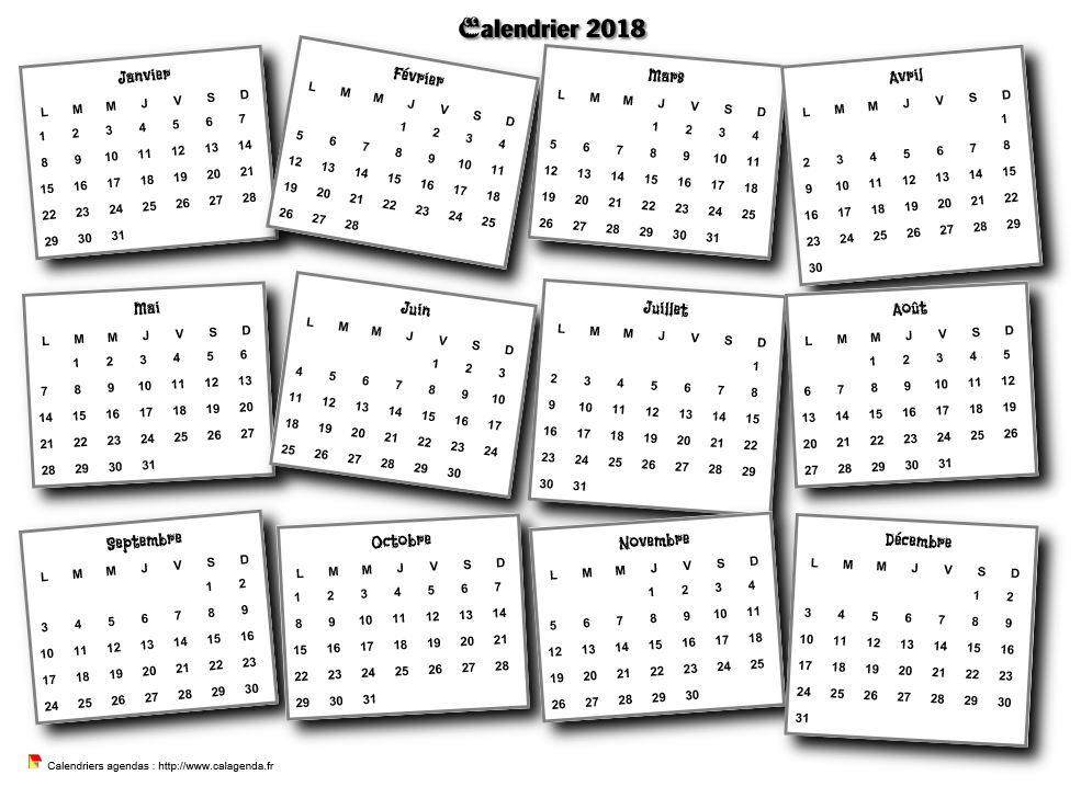 Calendrier 2018 annuel 3D pêle mêle