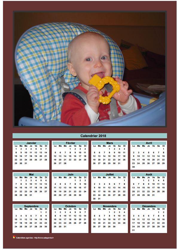 Calendrier 2018 annuel à imprimer avec photo de famille