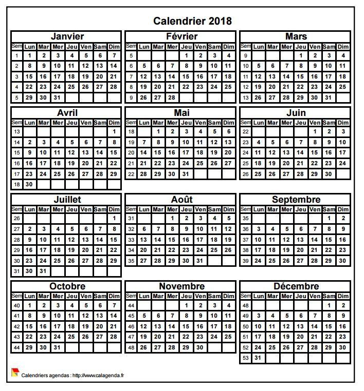 Calendrier 2018 format portrait