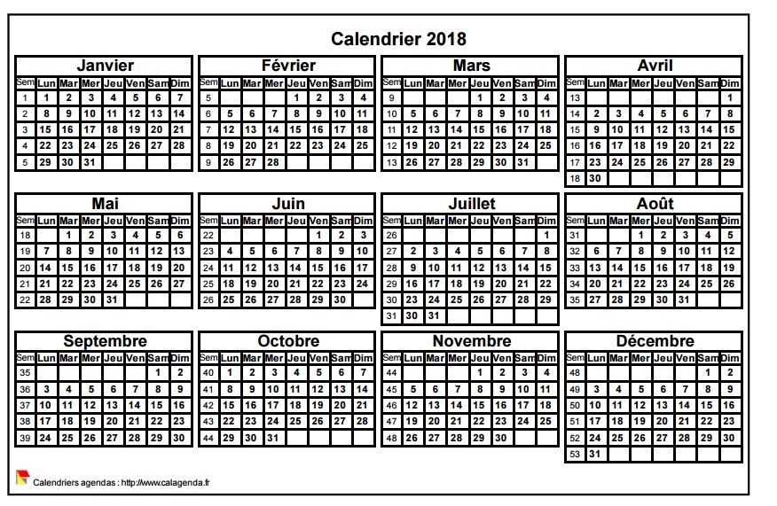 Calendrier 2018 format paysage