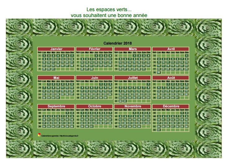 Calendrier 2018 décoratif annuel à imprimer, avec cadre photo vert