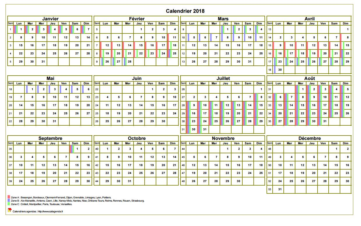 Calendrier 2018 annuel à imprimer, avec les vacances scolaires, format paysage