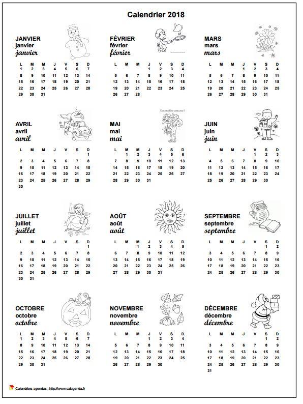 Calendrier 2018 annuel école primaire et maternelle
