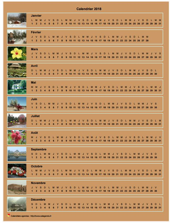 Calendrier 2018 annuel horizontal avec 12 photos