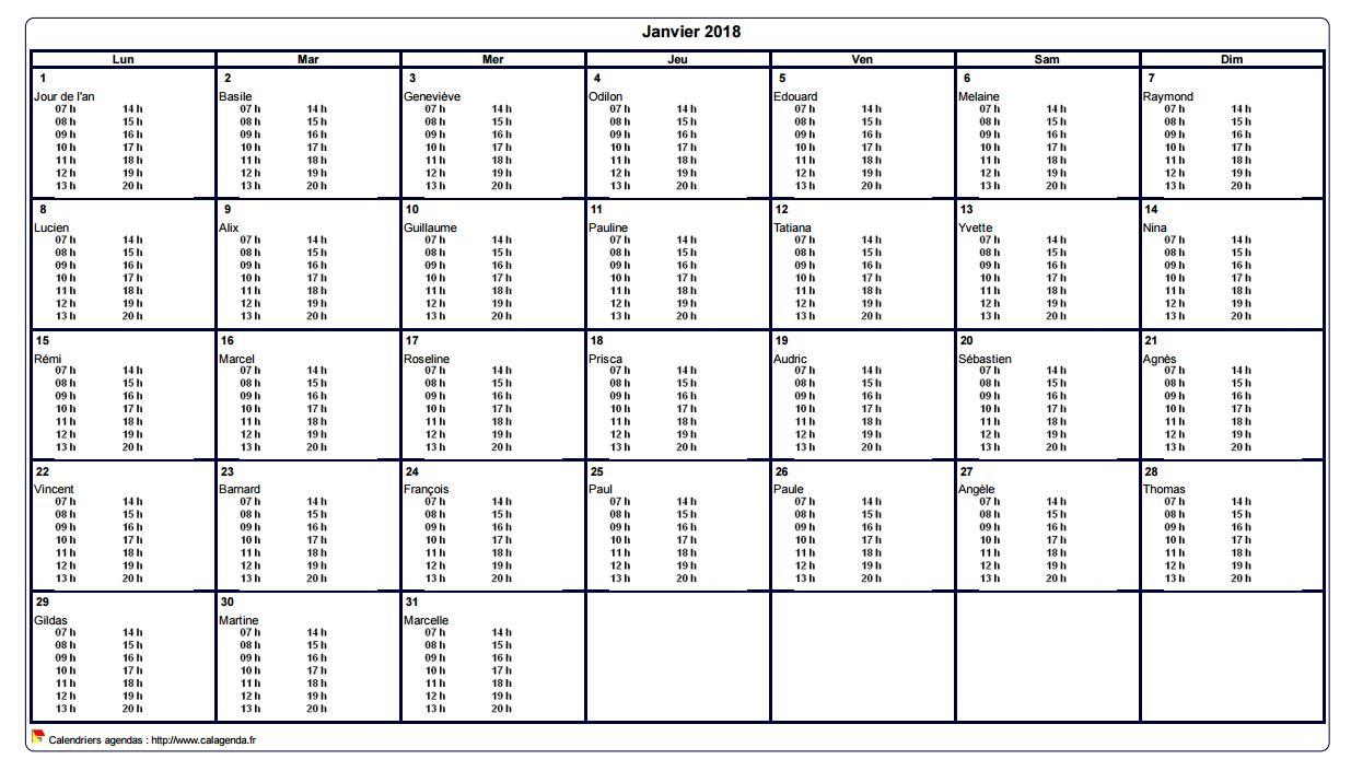 Calendrier mensuel 2018 à imprimer vierge, avec les horaires dans chaque case