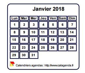 Calendrier mensuel 2018 à imprimer, fond blanc, taille mini, format poche, spécial portefeuille