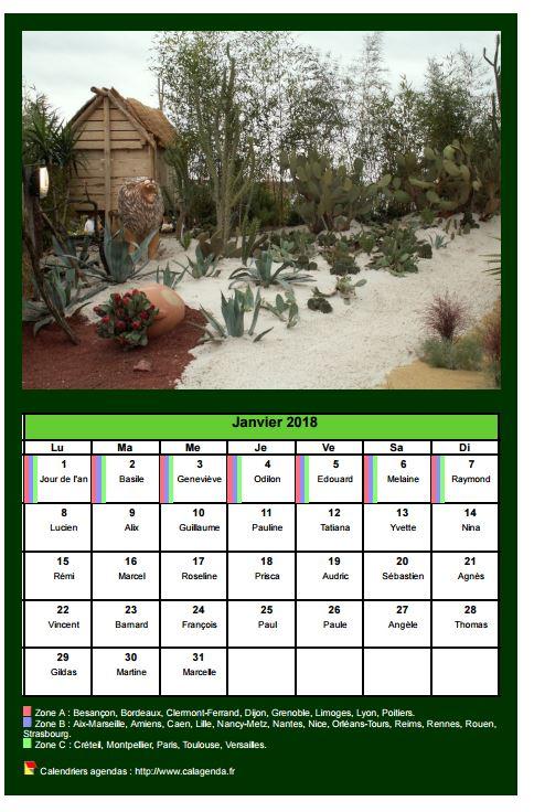 Calendrier mensuel 2018 avec une photo différente chaque mois