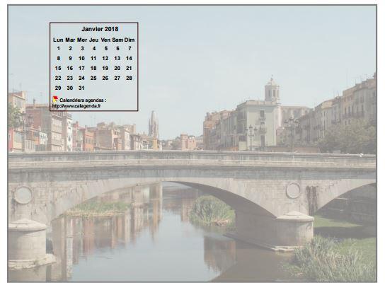 Calendrier mensuel 2018 à imprimer, incrusté en haut à gauche d'une photo