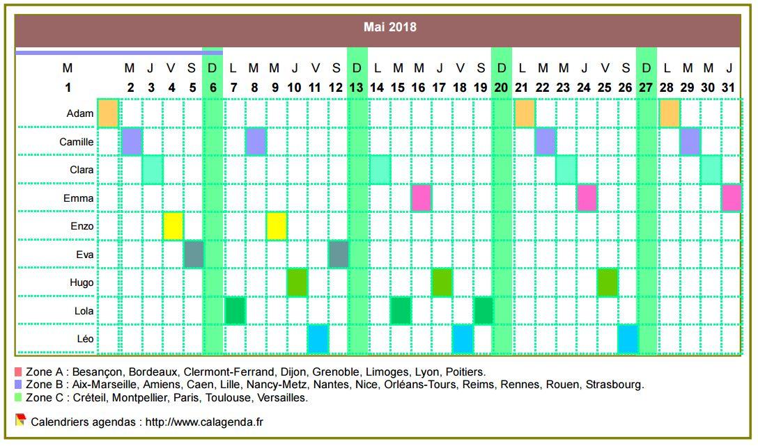 Calendrier 2018 planning horizontal mensuel