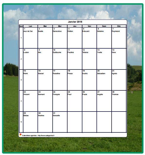 Calendrier 2018 décoratif à imprimer, mensuel , format portrait, avec une photo