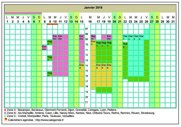 Calendrier planning horizontal mensuel avec la grille des horaires
