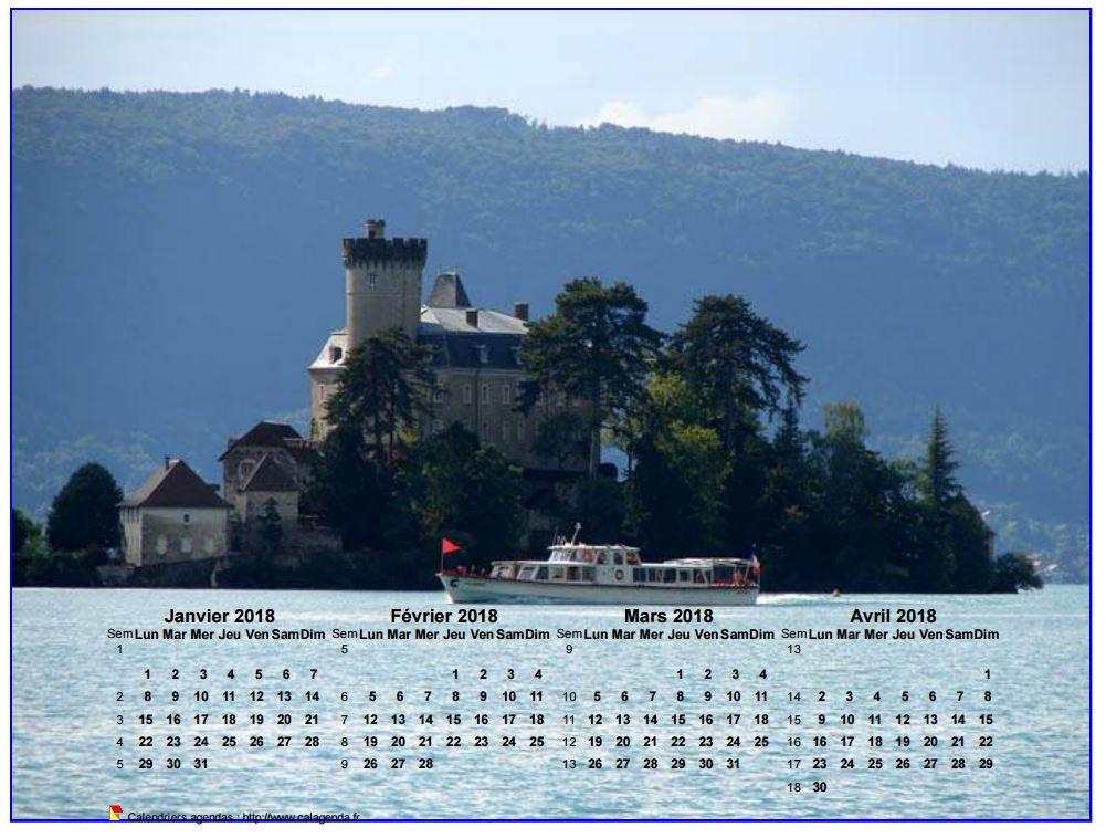 Calendrier à imprimer de quatre mois, format paysage, incrusté sur la partie inférieure d'une photo
