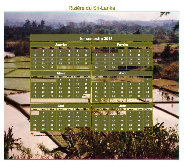 Calendrier 2018 artistique semestriel à imprimer, format mini de poche, avec photo