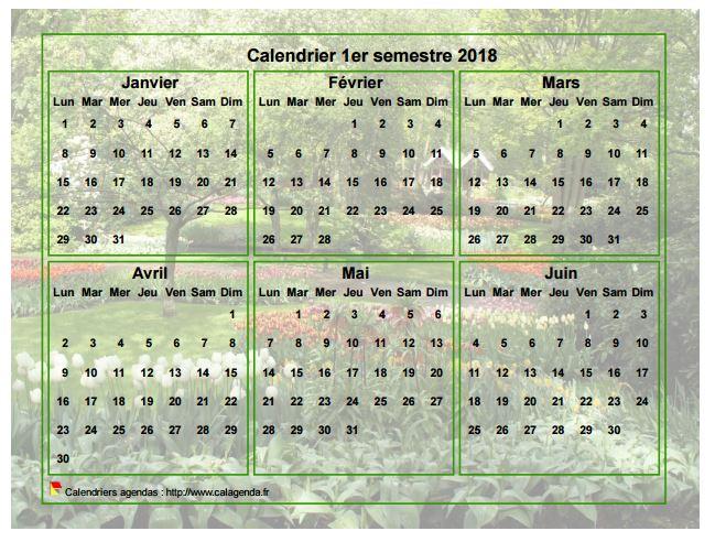 Calendrier 2018 à imprimer semestriel, format paysage, avec photo en fond de calendrier
