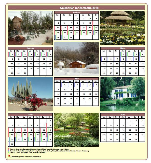 Calendrier 2018 semestriel avec une photo différente chaque mois