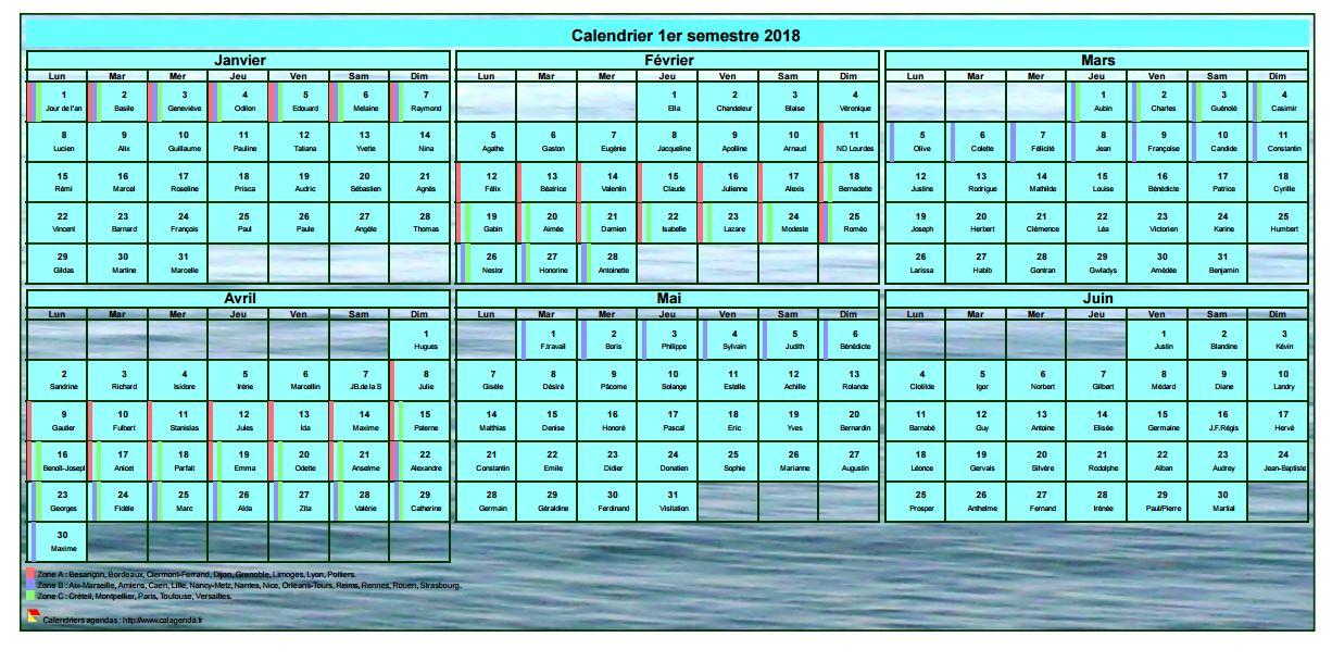 Calendrier 2018 à imprimer semestriel, format portrait, avec photo en fond de calendrier