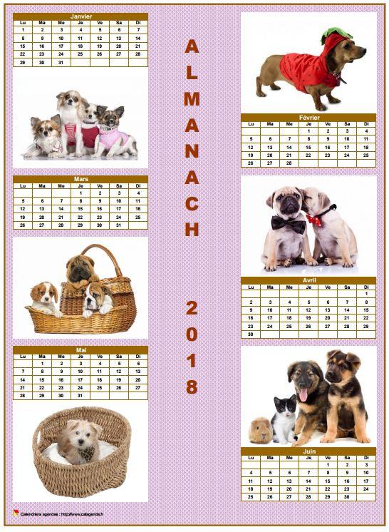 Calendrier 2018 semestriel chiens format portrait