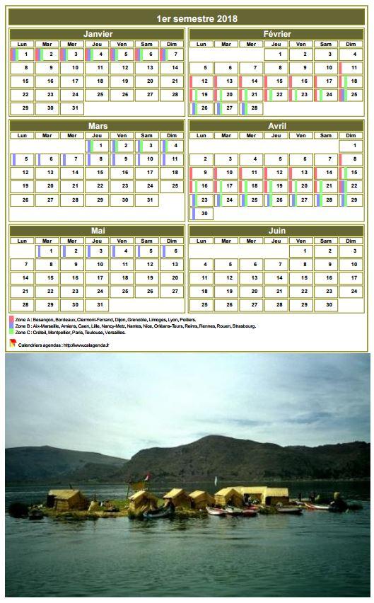Modèle par défaut du calendrier agenda semestriel, 2 colonnes par 3 lignes