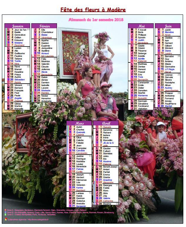 Calendrier 2018 semestriel fête des fleurs à Madère