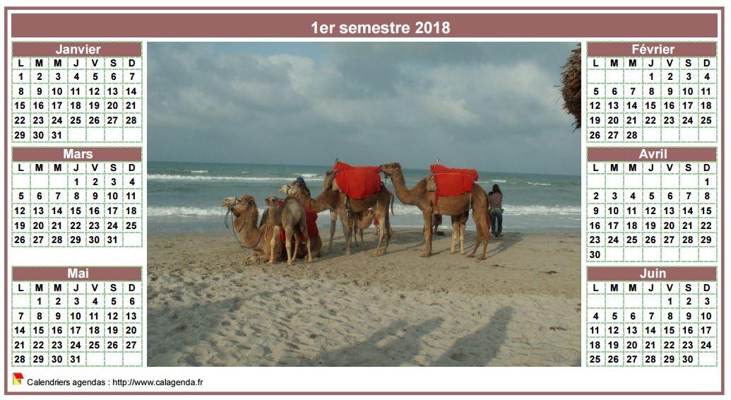 Calendrier 2018 semestriel de style calendrierdes postes avec photo au centre