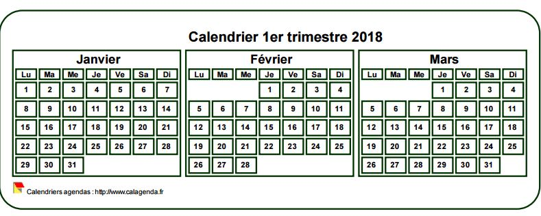 Calendrier 2018 à imprimer trimestriel, format mini de poche, fond blanc