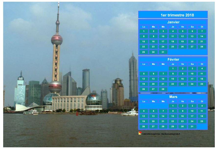 Calendrier 2018 à imprimer trimestriel, format paysage, au dessus de la partie droite d'une photo (Shangaï).