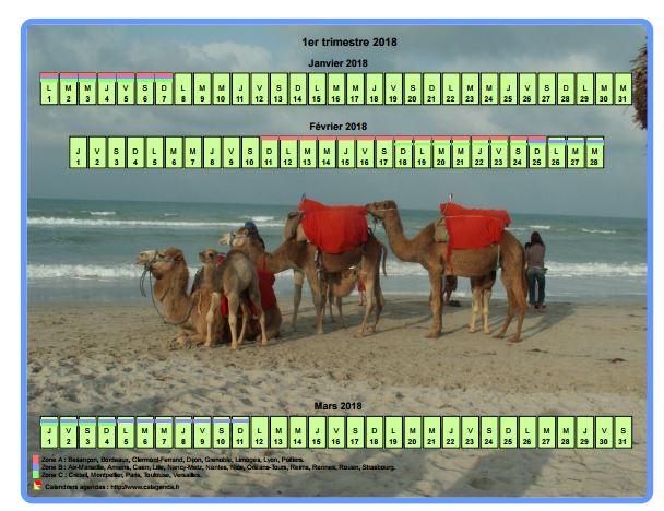 Calendrier 2018 trimestriel horizontal avec une photo en fond de calendrier