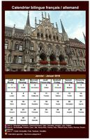 Calendrier mensuel 2018 allemand