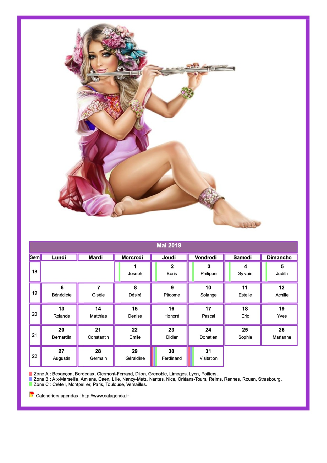 Calendrier mai 2019 femmes