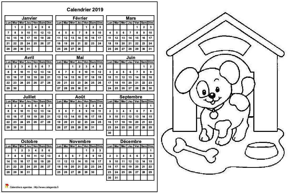 Calendrier 2019 à colorier annuel, format paysage, pour enfants