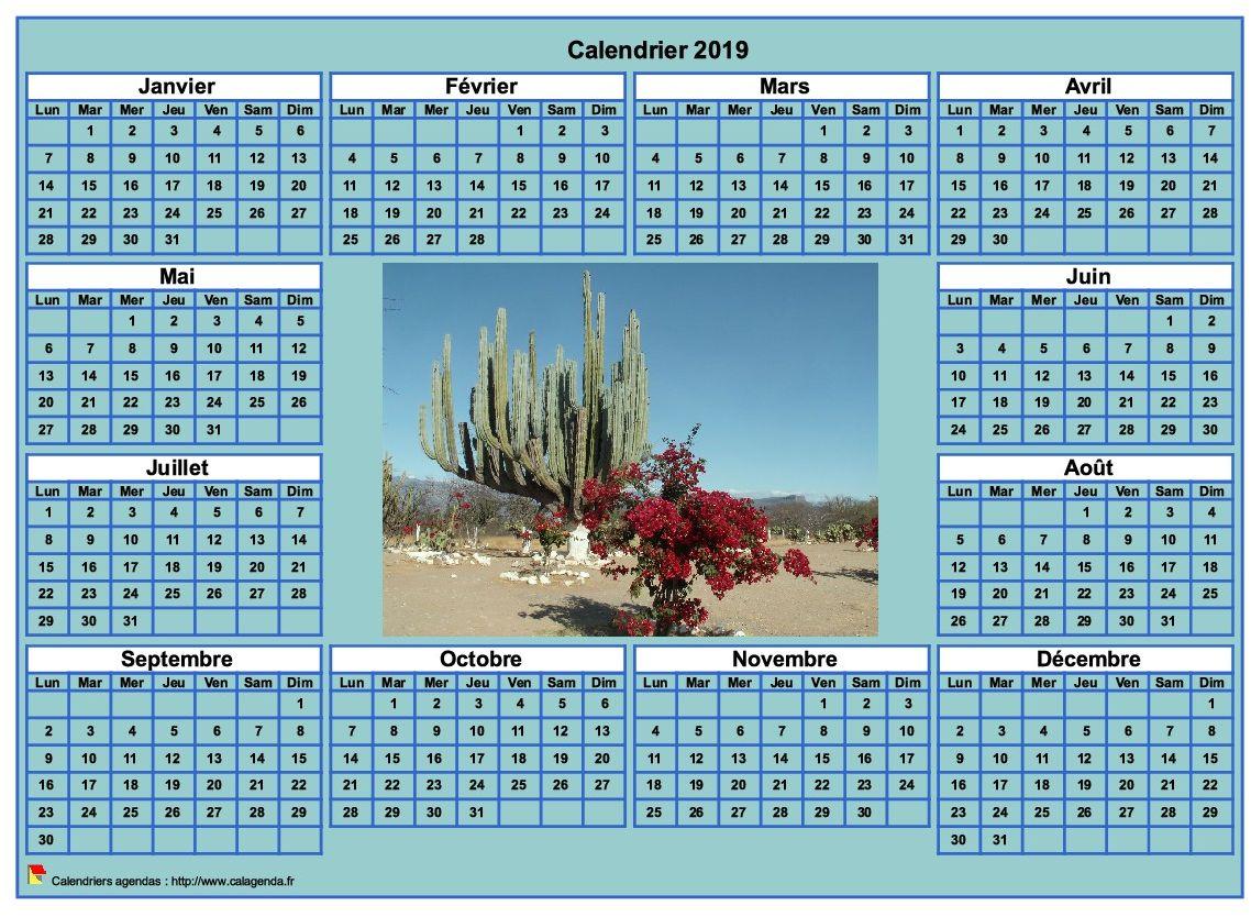 Calendrier 2019 photo annuel à imprimer, fond cyan, format paysage, sous-main ou mural