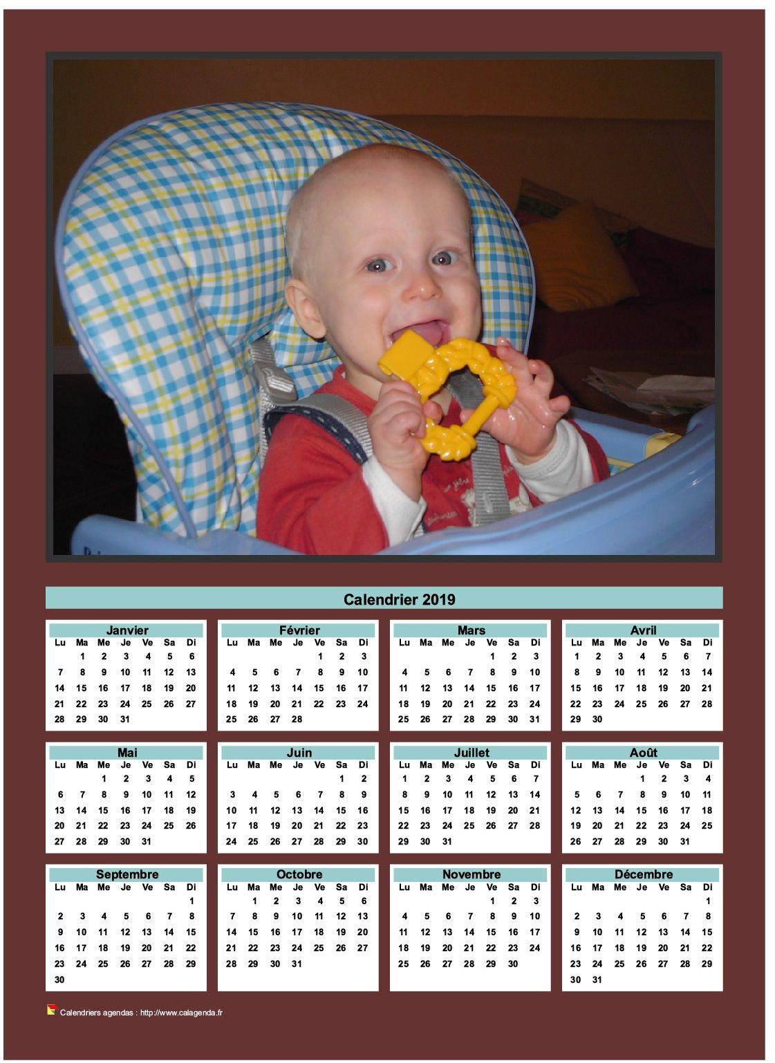 Calendrier 2019 annuel à imprimer avec photo de famille