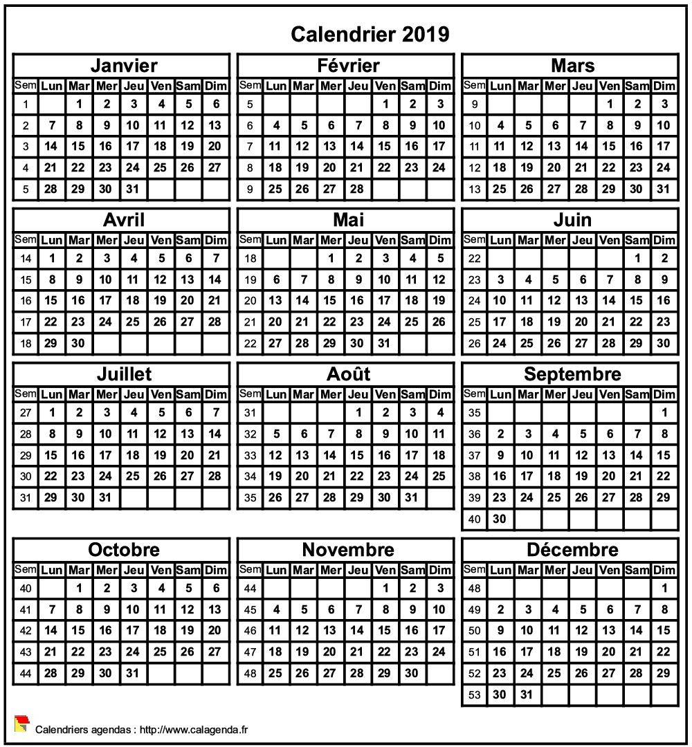 Calendrier 2019 format portrait