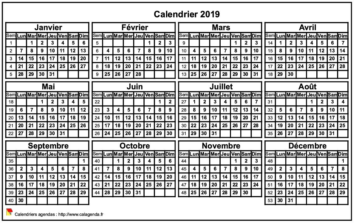 Calendrier 2019 format paysage