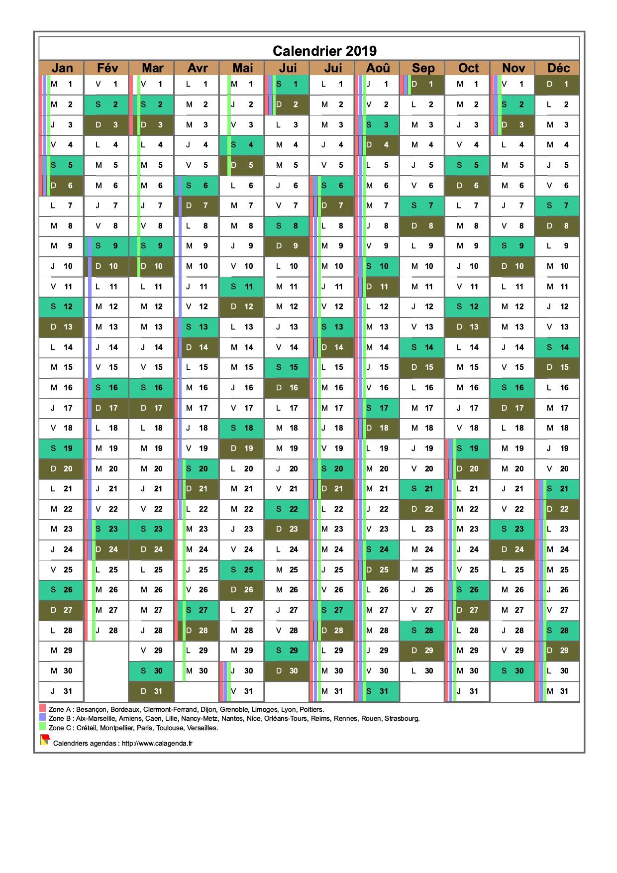 Calendrier 2019 annuel, 12 colonnes, avec les vacances scolaires