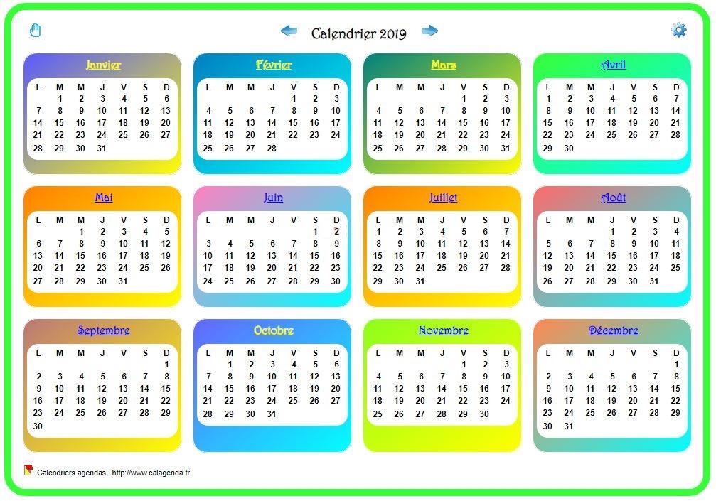 Calendrier 2019 annuel avec plusieurs dégradés de couleur