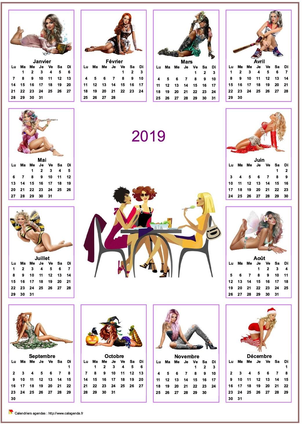 Calendrier annuel tubes femmes