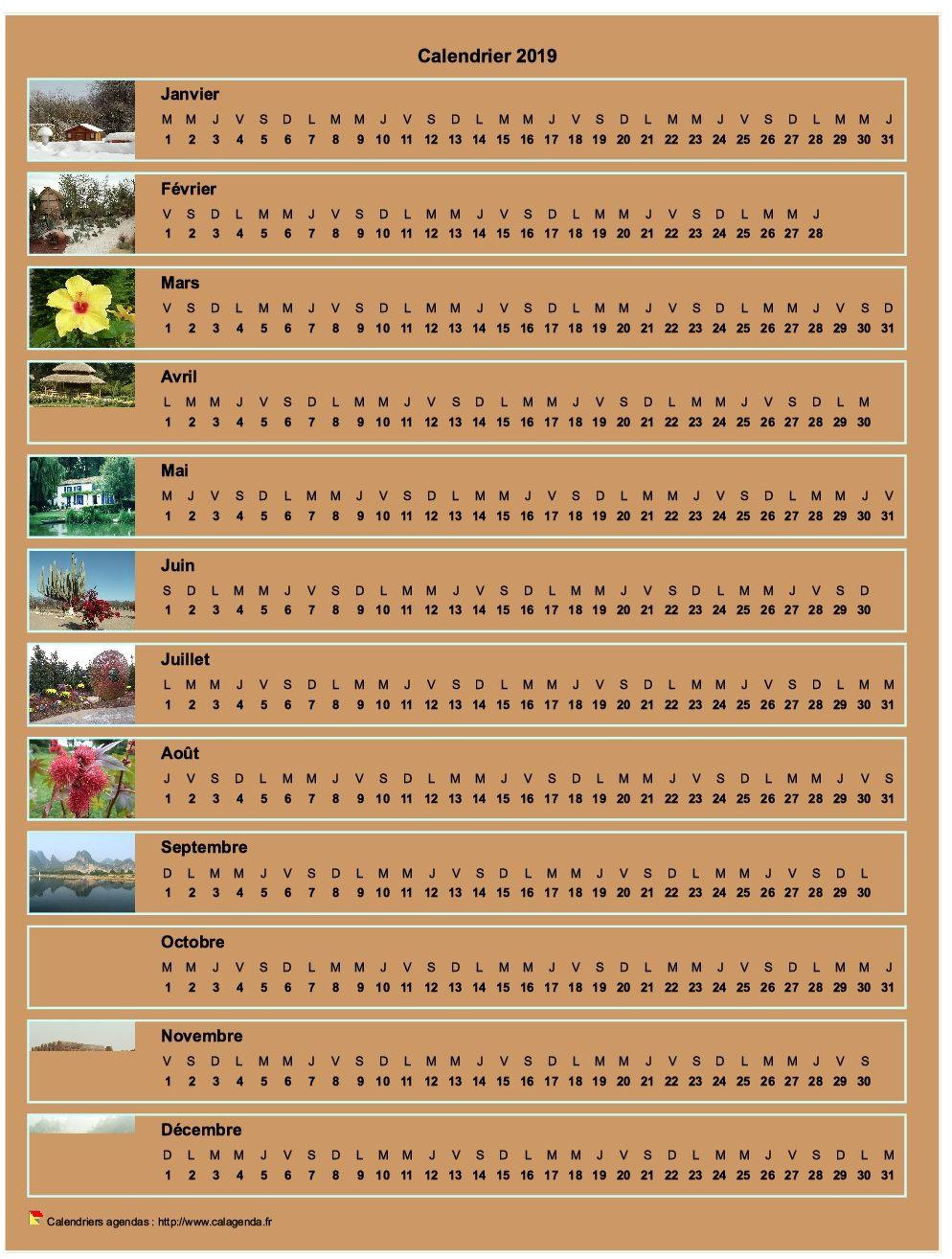 Calendrier 2019 annuel horizontal avec 12 photos