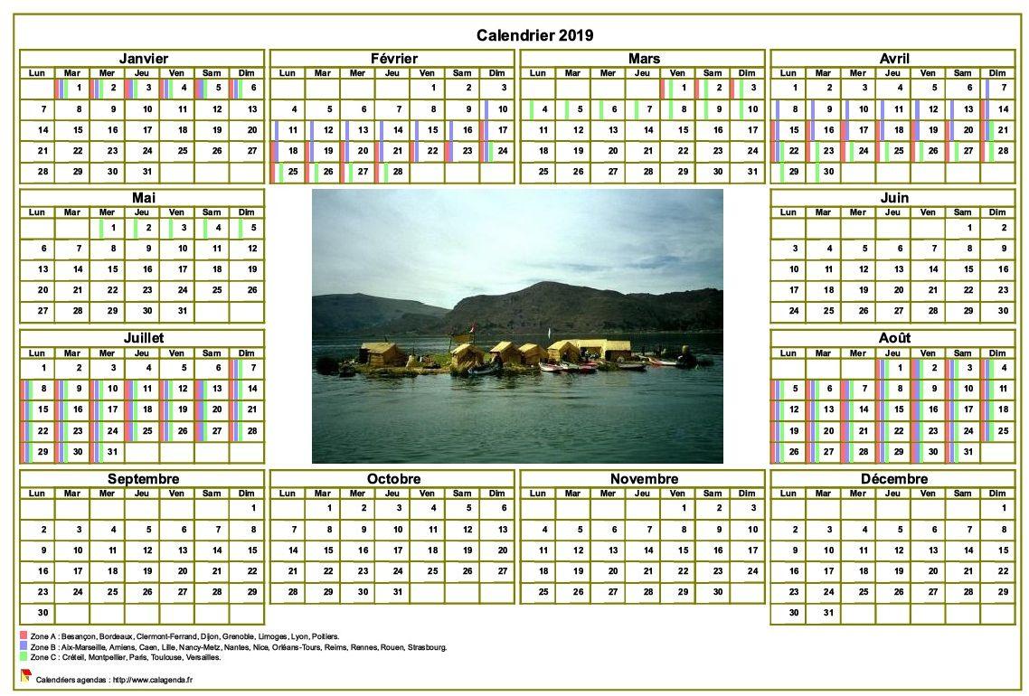 Calendrier 2019annuel avec photo, agenda synthétique, format paysage, sous-main ou mural