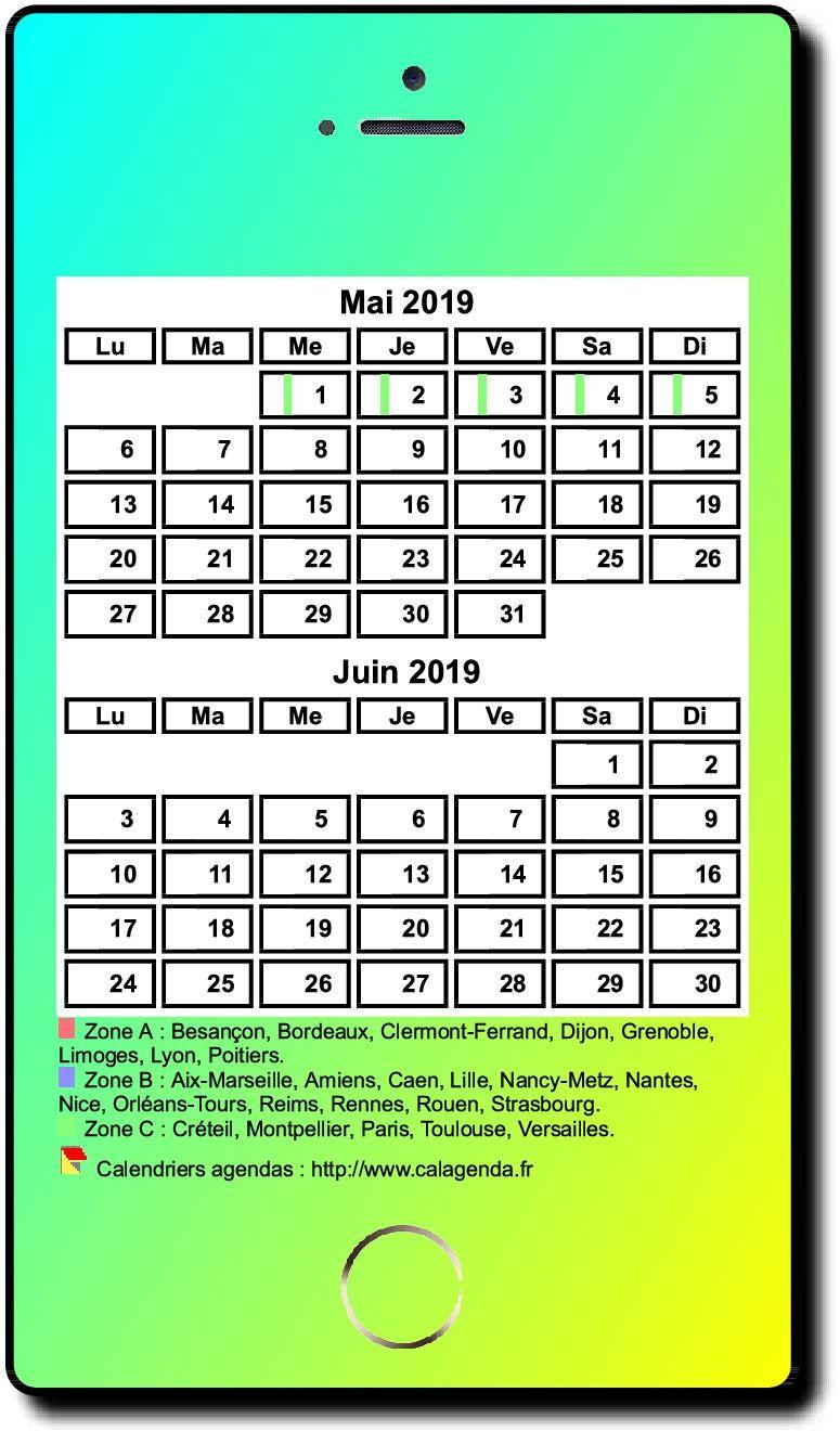 Calendrier 2019 bimestriel style iPhone