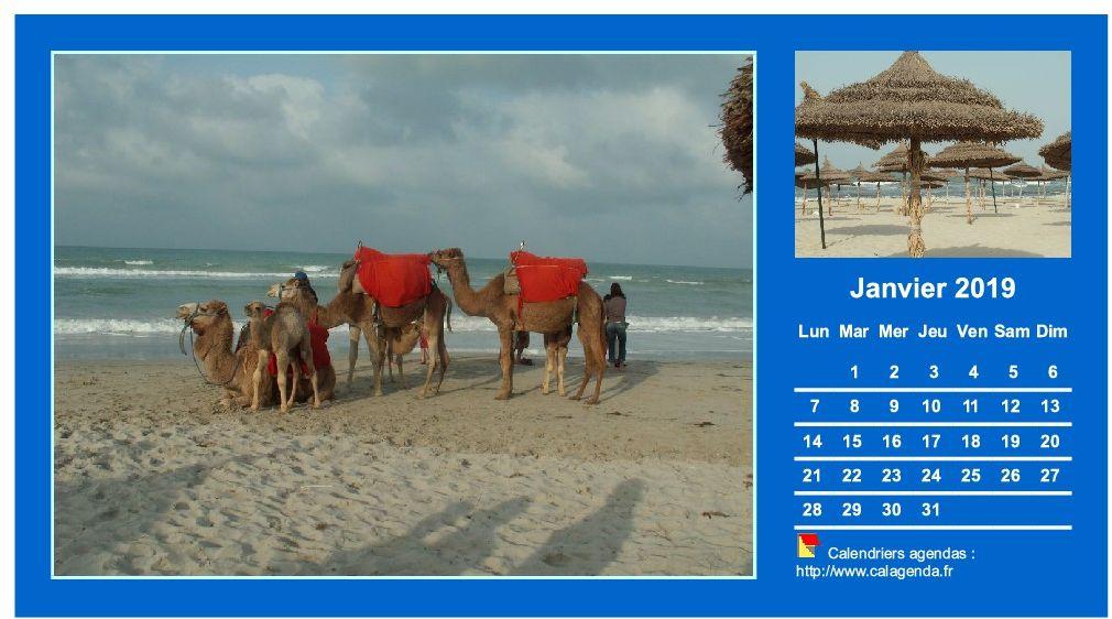 Calendrier mensuel 2019 avec deux photos