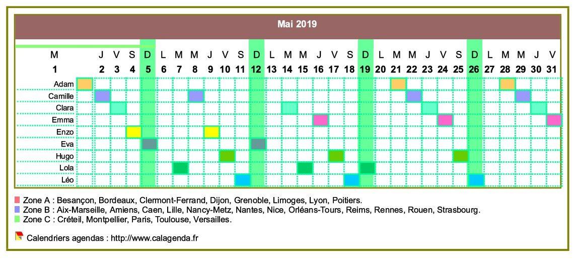 Calendrier 2019 planning horizontal mensuel